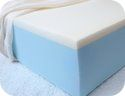 comfortable-looking blue and white foam mattress