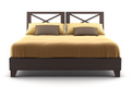 bed with brown bedspread
