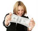 woman stretching paper money
