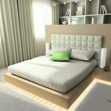 bed with white foam mattress